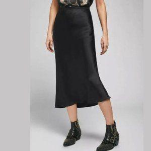 NWT Rachel Zoe Black Satin Midi Skirt Size Small
